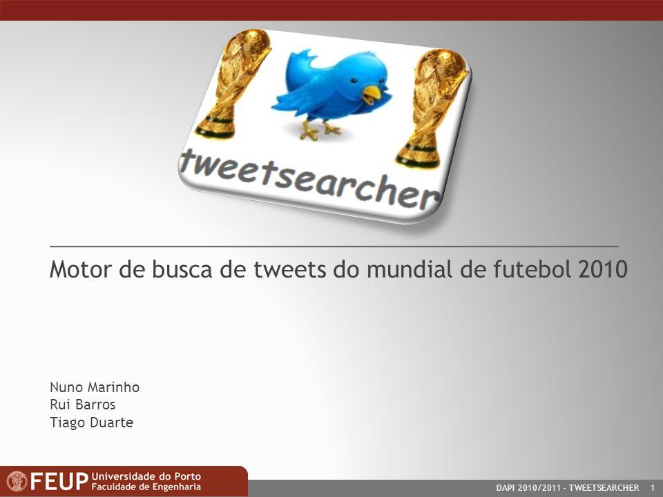 DAPI 2010/2011- TWEETSEARCHER 1 Motor de busca de tweets do mundial de futebol 2010 Nuno Marinho Rui Barros Tiago Duarte