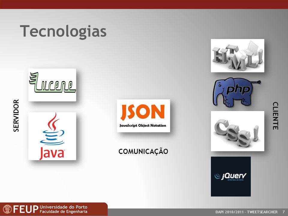 DAPI 2010/2011- TWEETSEARCHER 7 Tecnologias SERVIDOR CLIENTE COMUNICAÇÃO