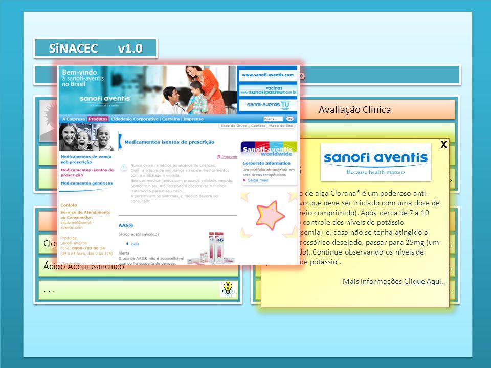 Atendimento Clínico SiNACEC v1.0 Dados Paciente Avaliação Clinica Sintomas Avaliação Física Medicação Prescrição Medicação Clorana® (Hidroclorotiazida
