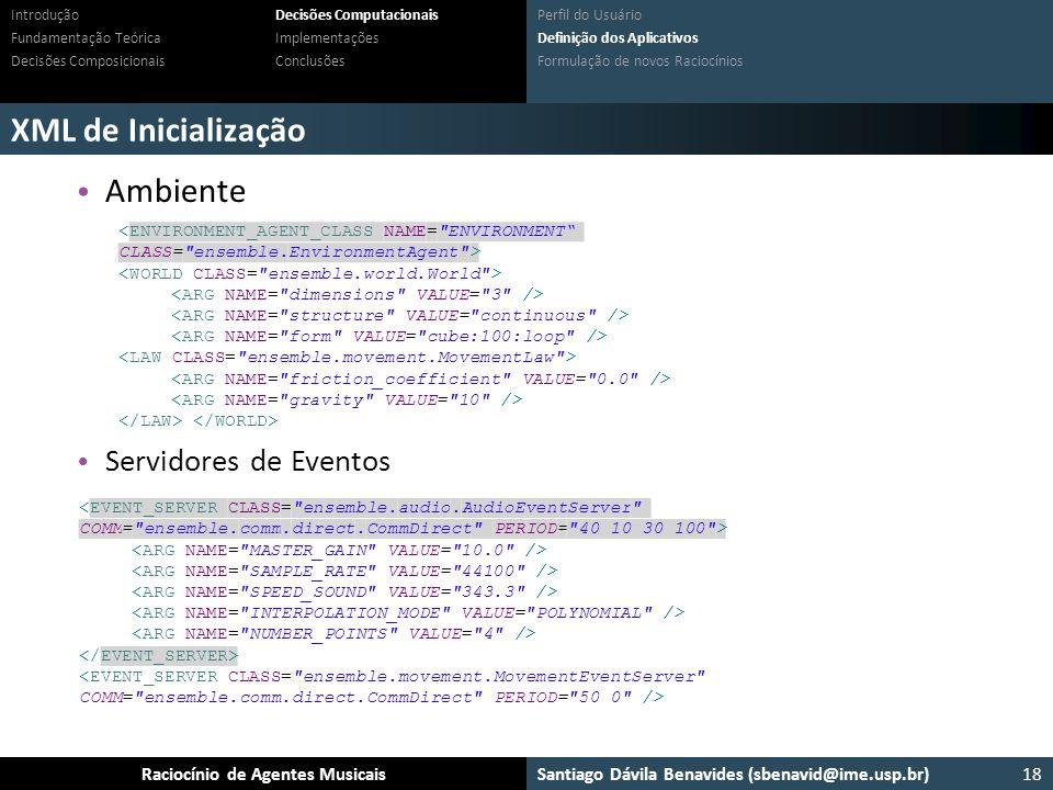 Santiago Dávila Benavides (sbenavid@ime.usp.br) Ensemble: Um arcabouço para sistemas multiagente musicaisRaciocínio de Agentes Musicais XML de Inicial