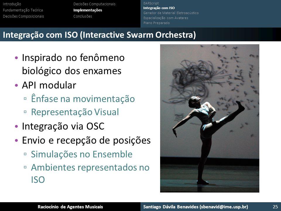 Santiago Dávila Benavides (sbenavid@ime.usp.br) Ensemble: Um arcabouço para sistemas multiagente musicaisRaciocínio de Agentes Musicais Integração com