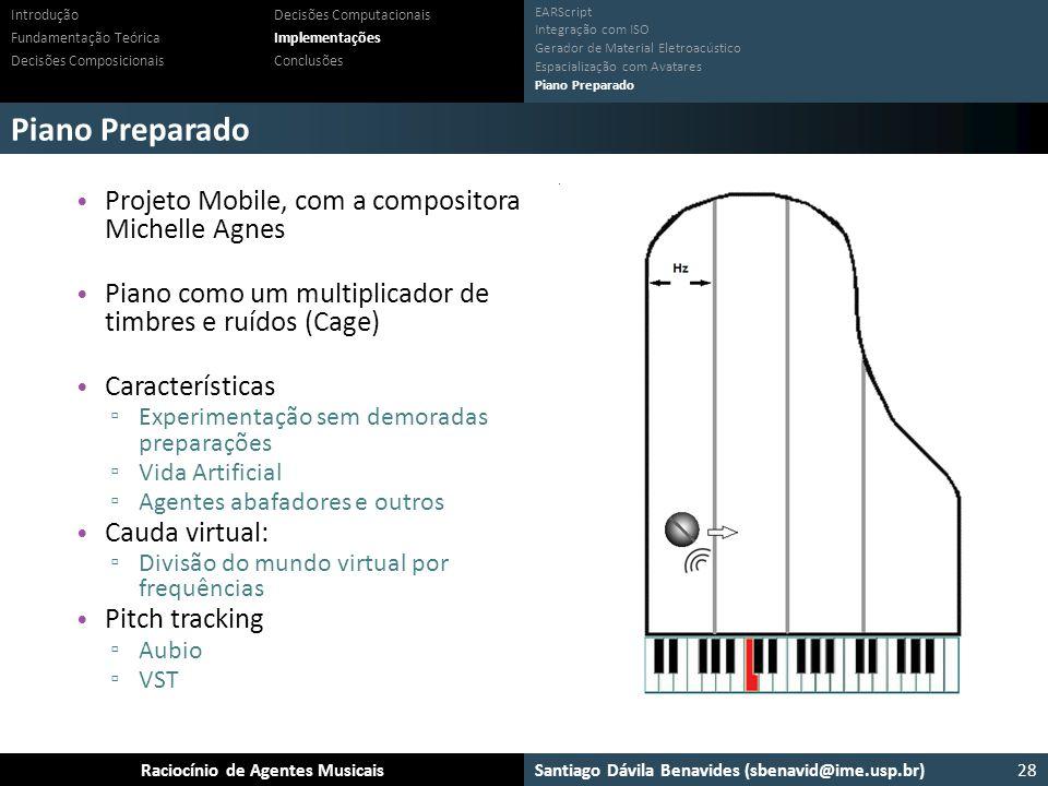 Santiago Dávila Benavides (sbenavid@ime.usp.br) Ensemble: Um arcabouço para sistemas multiagente musicaisRaciocínio de Agentes Musicais Piano Preparad