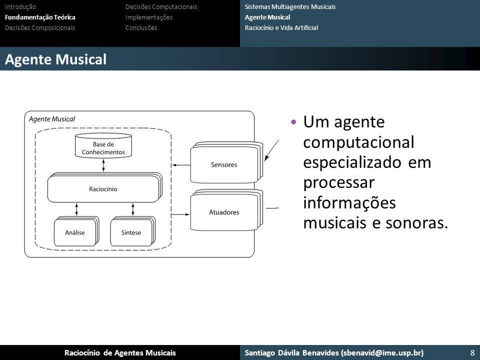 Santiago Dávila Benavides (sbenavid@ime.usp.br) Ensemble: Um arcabouço para sistemas multiagente musicaisRaciocínio de Agentes Musicais Agente Musical