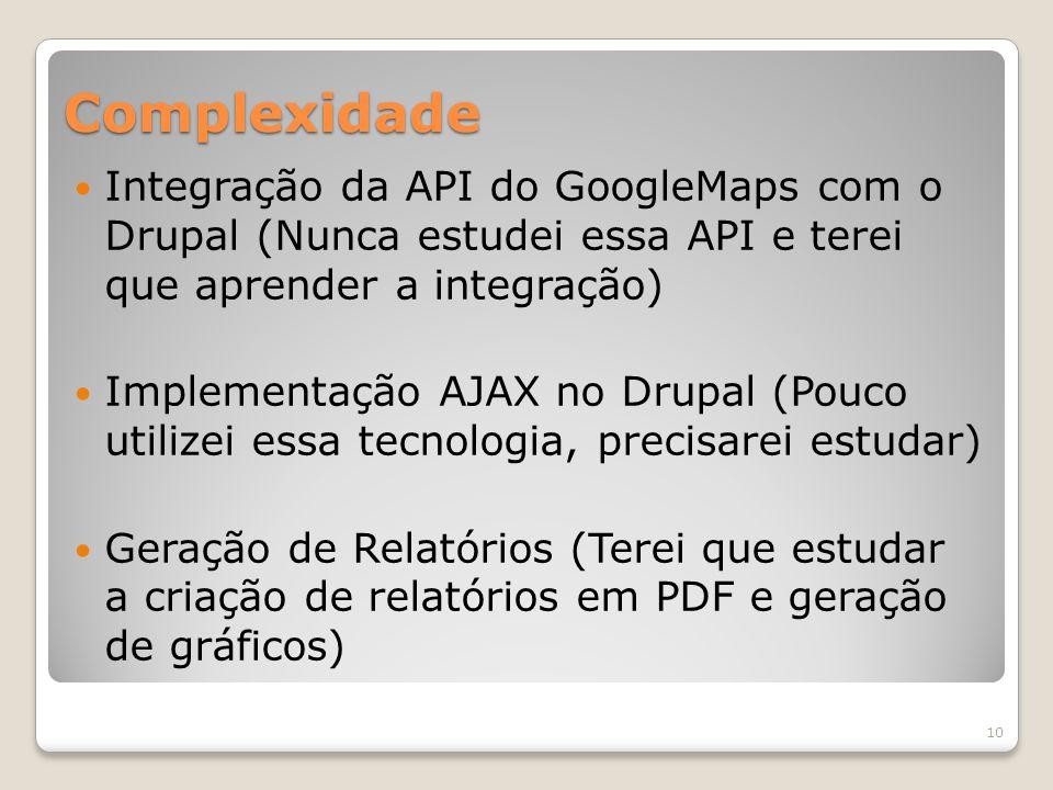 Complexidade Integração da API do GoogleMaps com o Drupal (Nunca estudei essa API e terei que aprender a integração) Implementação AJAX no Drupal (Pouco utilizei essa tecnologia, precisarei estudar) Geração de Relatórios (Terei que estudar a criação de relatórios em PDF e geração de gráficos) 10