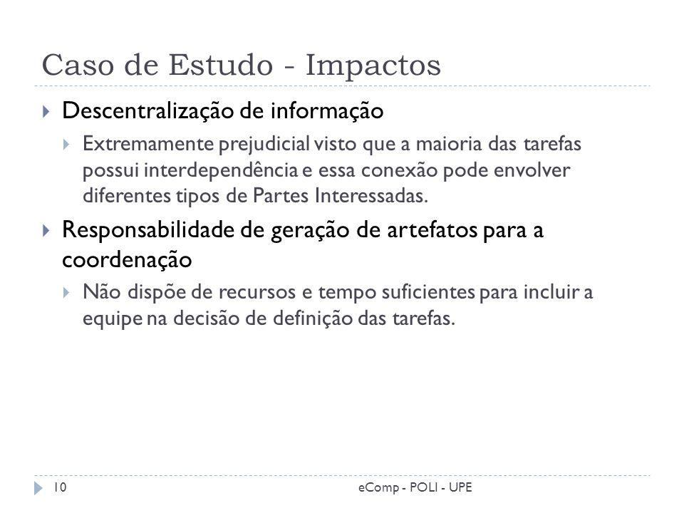 Caso de Estudo - Impactos Descentralização de informação Extremamente prejudicial visto que a maioria das tarefas possui interdependência e essa conex