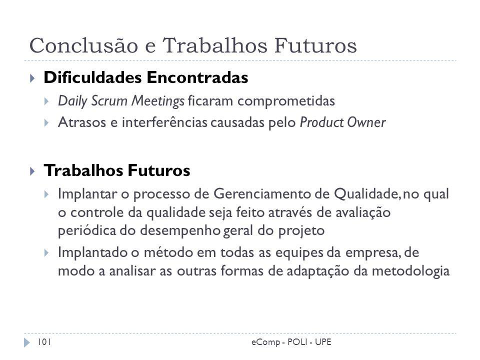 Conclusão e Trabalhos Futuros Dificuldades Encontradas Daily Scrum Meetings ficaram comprometidas Atrasos e interferências causadas pelo Product Owner