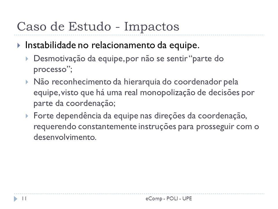 Caso de Estudo - Impactos 11 Instabilidade no relacionamento da equipe. Desmotivação da equipe, por não se sentir parte do processo; Não reconheciment