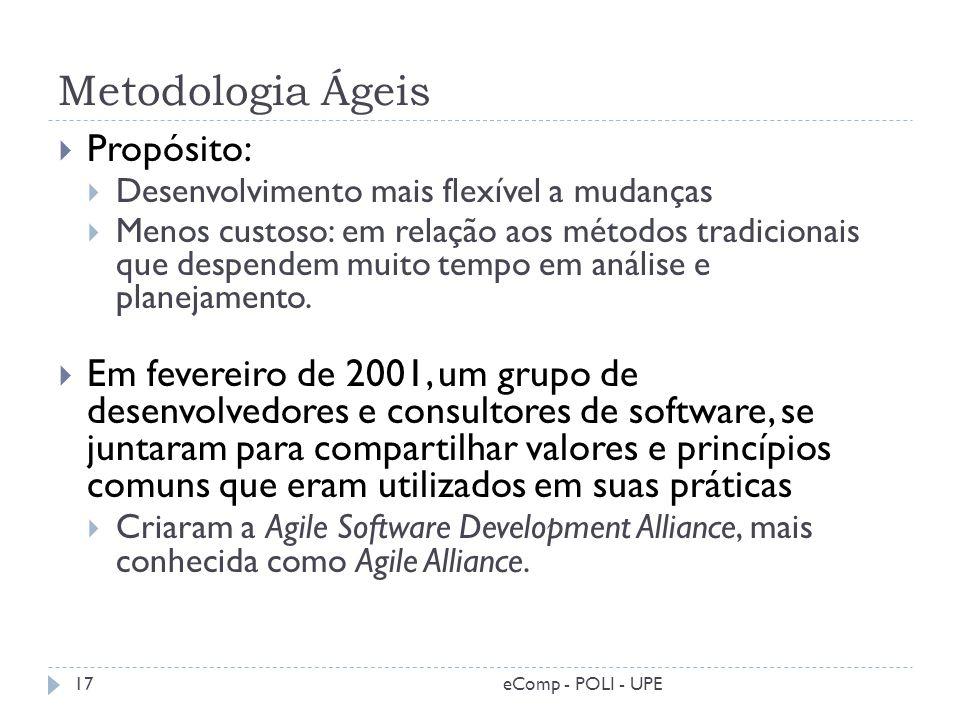 Metodologia Ágeis Propósito: Desenvolvimento mais flexível a mudanças Menos custoso: em relação aos métodos tradicionais que despendem muito tempo em