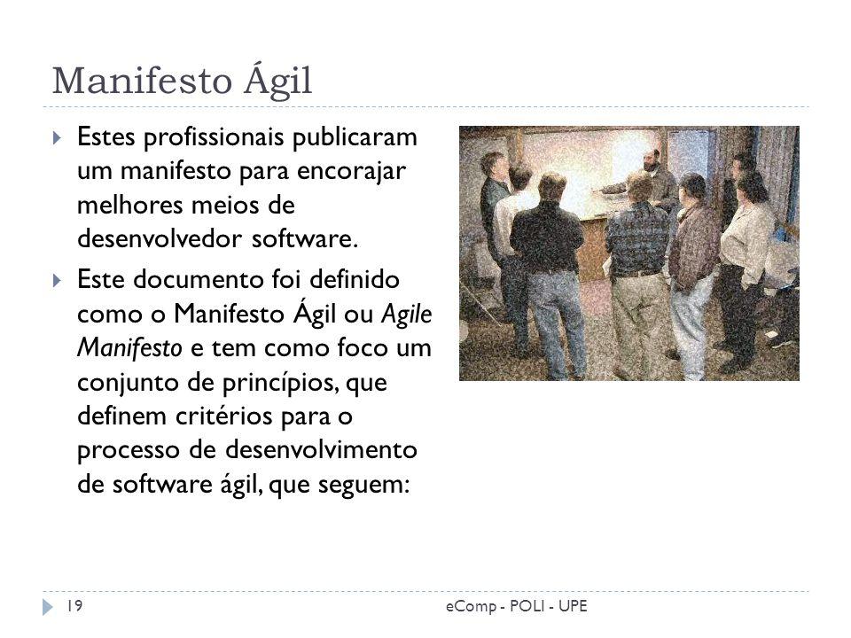 Manifesto Ágil Estes profissionais publicaram um manifesto para encorajar melhores meios de desenvolvedor software. Este documento foi definido como o