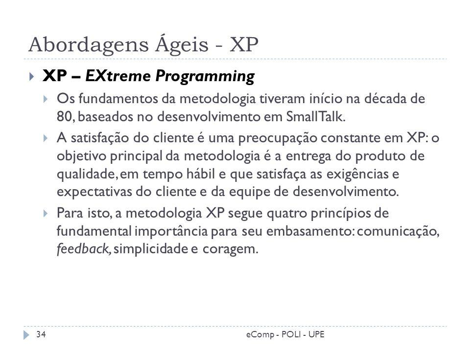 Abordagens Ágeis - XP XP – EXtreme Programming Os fundamentos da metodologia tiveram início na década de 80, baseados no desenvolvimento em SmallTalk.