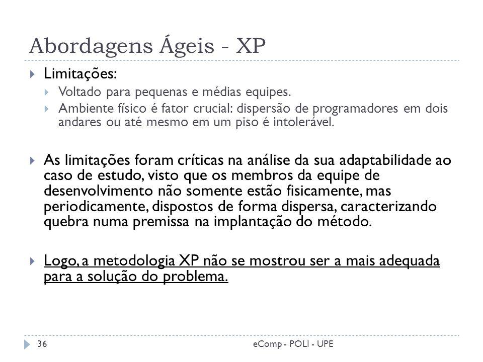Abordagens Ágeis - XP eComp - POLI - UPE36 Limitações: Voltado para pequenas e médias equipes. Ambiente físico é fator crucial: dispersão de programad