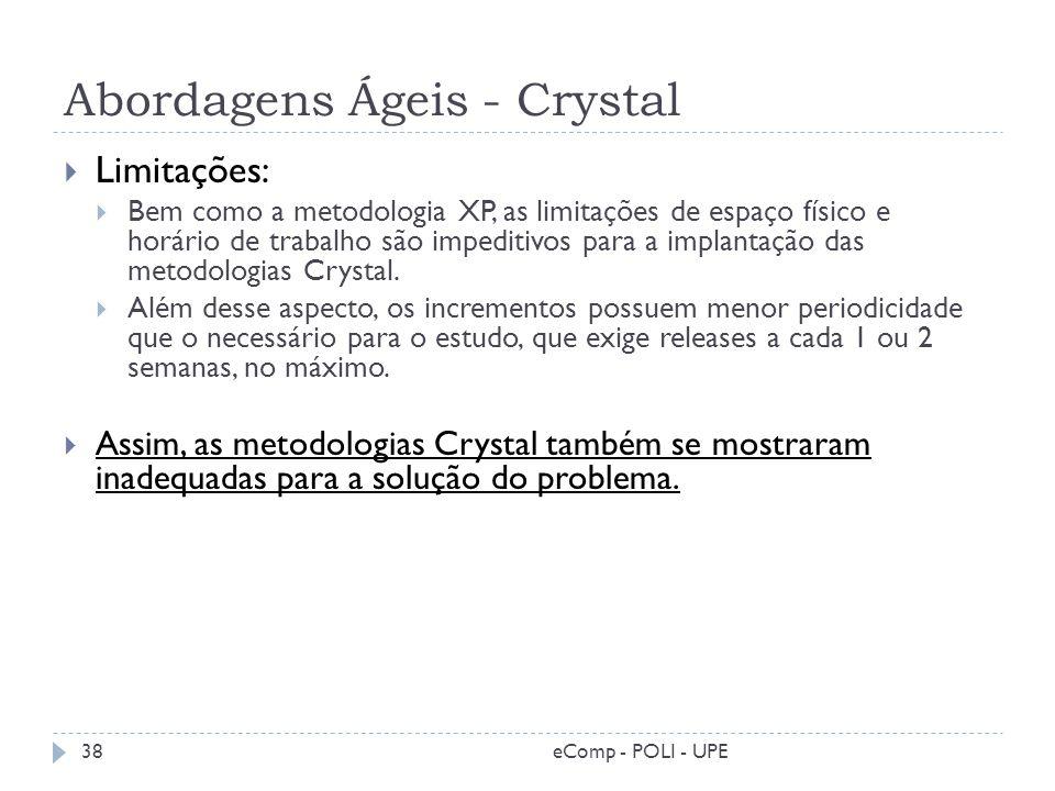 Abordagens Ágeis - Crystal eComp - POLI - UPE38 Limitações: Bem como a metodologia XP, as limitações de espaço físico e horário de trabalho são impedi