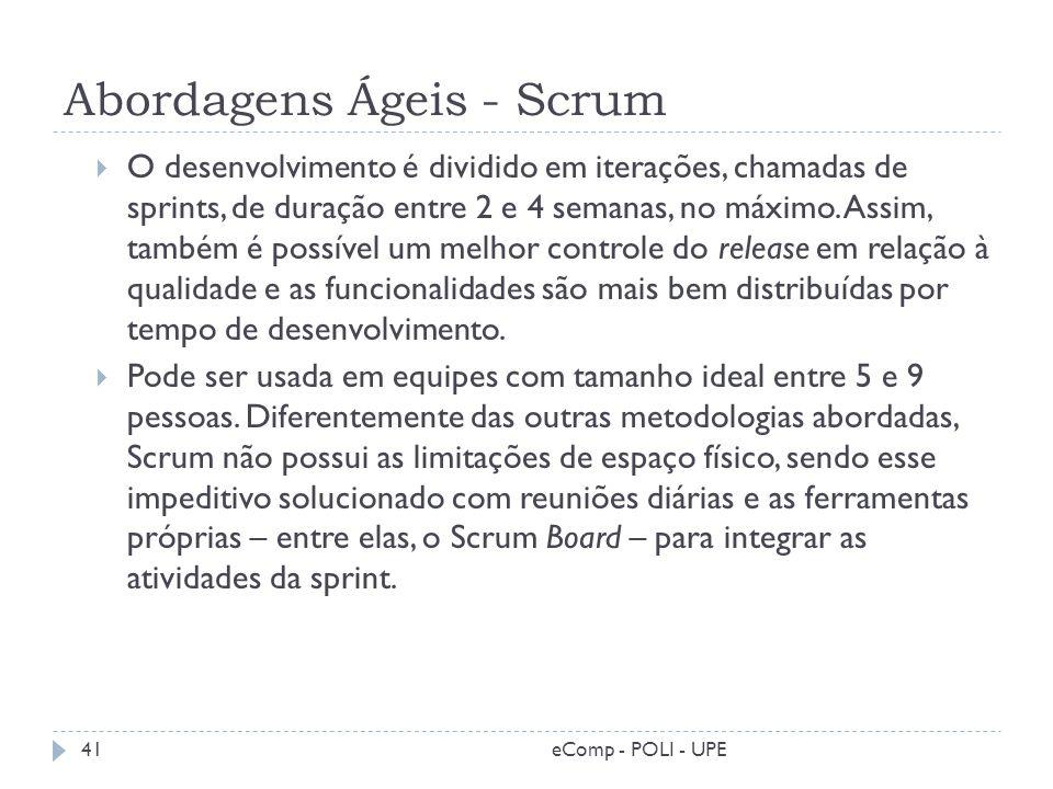 Abordagens Ágeis - Scrum O desenvolvimento é dividido em iterações, chamadas de sprints, de duração entre 2 e 4 semanas, no máximo. Assim, também é po