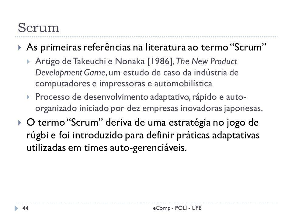 Scrum As primeiras referências na literatura ao termo Scrum Artigo de Takeuchi e Nonaka [1986], The New Product Development Game, um estudo de caso da