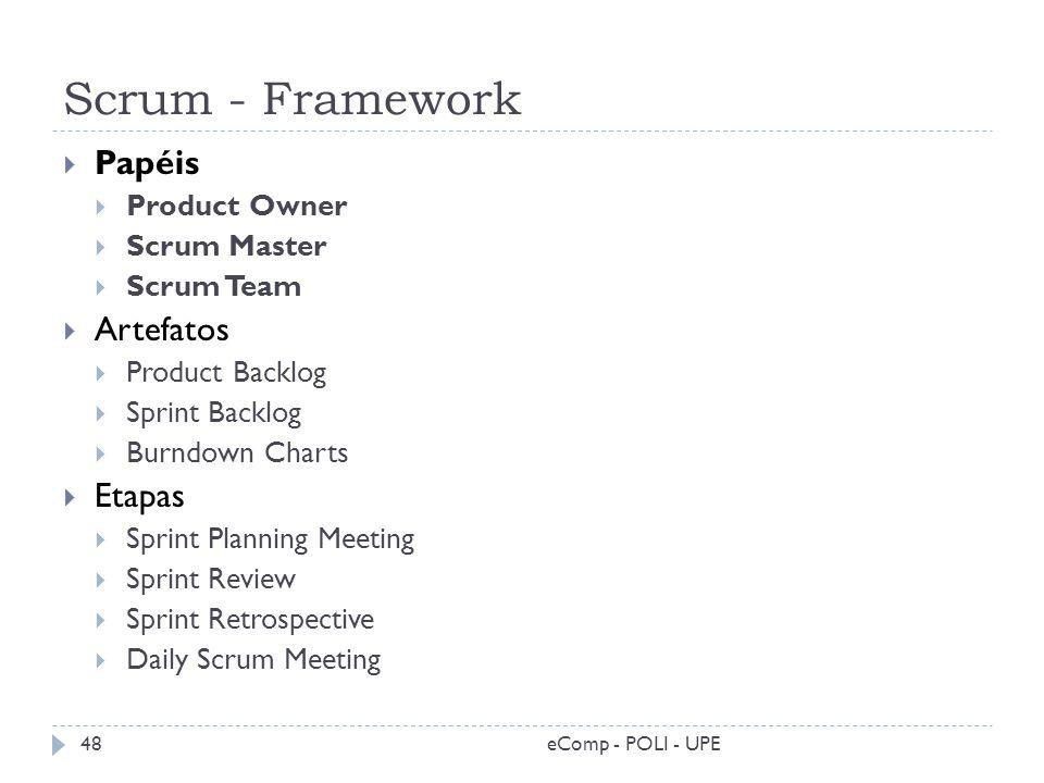 Scrum - Framework eComp - POLI - UPE48 Papéis Product Owner Scrum Master Scrum Team Artefatos Product Backlog Sprint Backlog Burndown Charts Etapas Sp