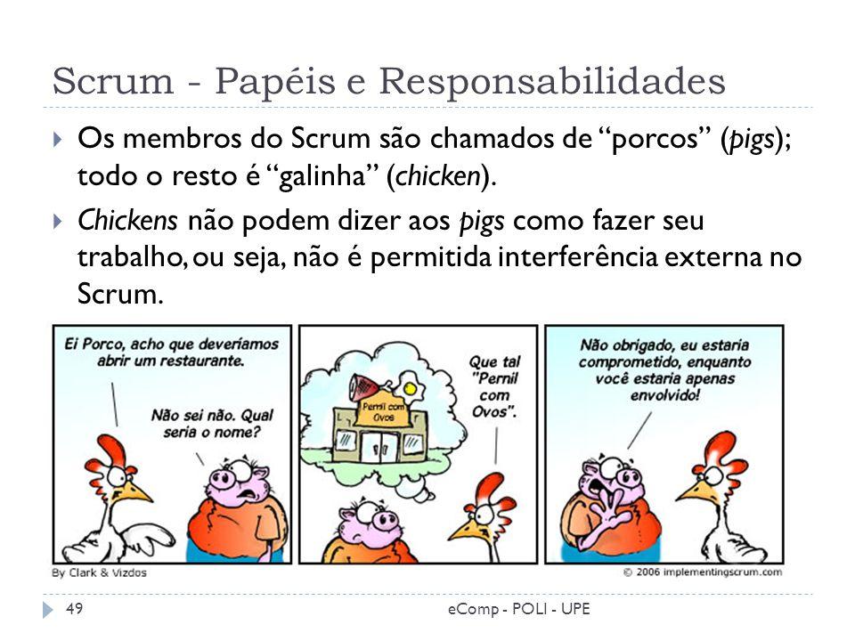 Scrum - Papéis e Responsabilidades Os membros do Scrum são chamados de porcos (pigs); todo o resto é galinha (chicken). Chickens não podem dizer aos p