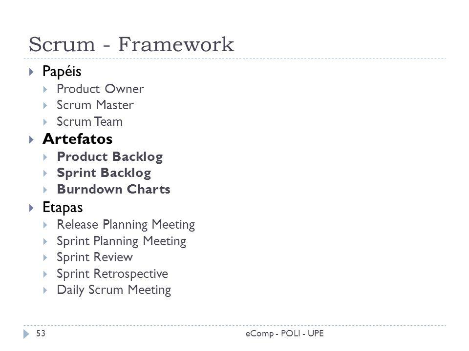 Scrum - Framework eComp - POLI - UPE53 Papéis Product Owner Scrum Master Scrum Team Artefatos Product Backlog Sprint Backlog Burndown Charts Etapas Re