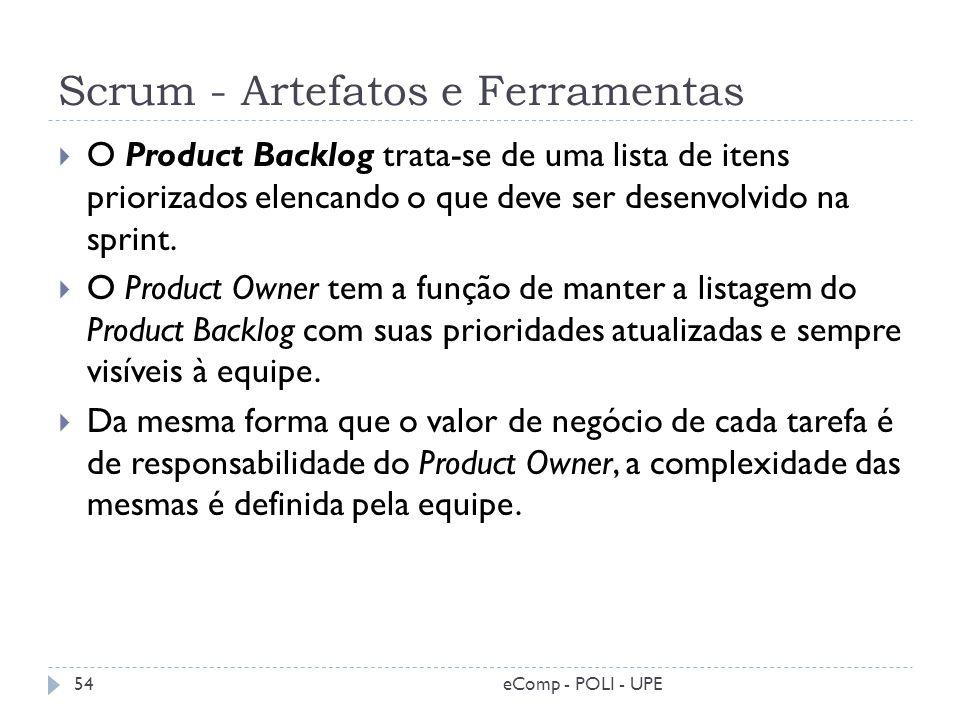 Scrum - Artefatos e Ferramentas O Product Backlog trata-se de uma lista de itens priorizados elencando o que deve ser desenvolvido na sprint. O Produc