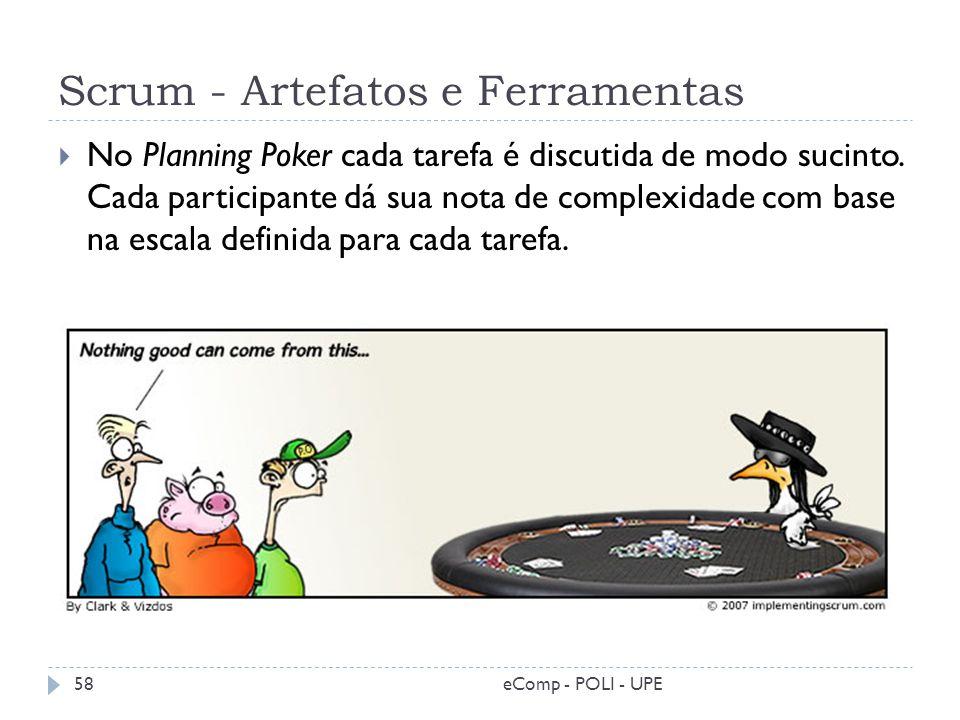 Scrum - Artefatos e Ferramentas eComp - POLI - UPE58 No Planning Poker cada tarefa é discutida de modo sucinto. Cada participante dá sua nota de compl