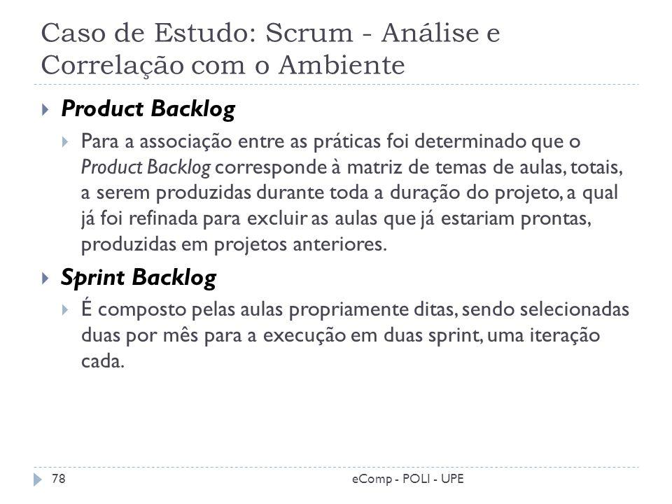 Caso de Estudo: Scrum - Análise e Correlação com o Ambiente Product Backlog Para a associação entre as práticas foi determinado que o Product Backlog