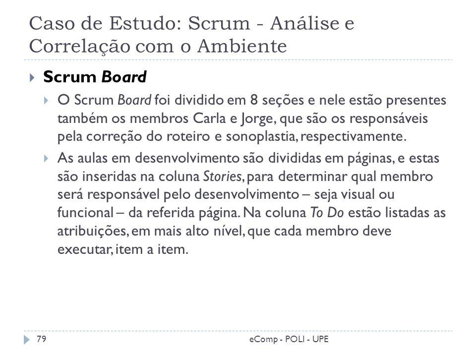 Caso de Estudo: Scrum - Análise e Correlação com o Ambiente Scrum Board O Scrum Board foi dividido em 8 seções e nele estão presentes também os membro