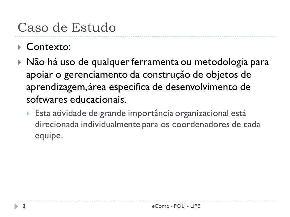 Caso de Estudo Contexto: Não há uso de qualquer ferramenta ou metodologia para apoiar o gerenciamento da construção de objetos de aprendizagem, área e