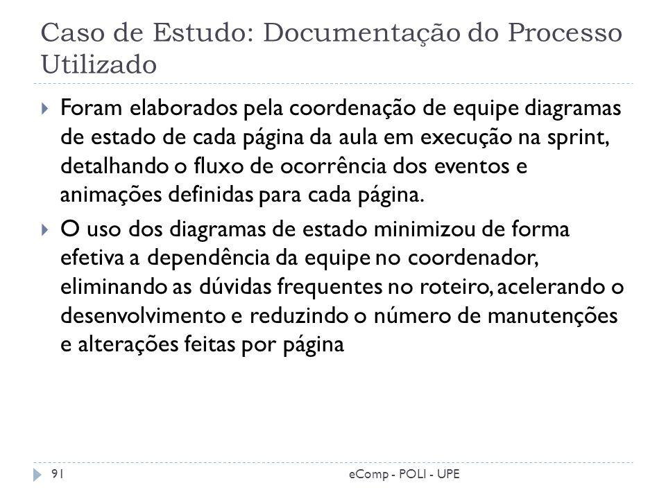 Caso de Estudo: Documentação do Processo Utilizado Foram elaborados pela coordenação de equipe diagramas de estado de cada página da aula em execução