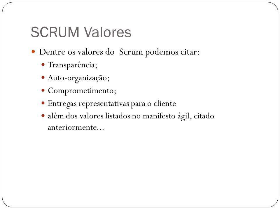 SCRUM Valores Dentre os valores do Scrum podemos citar: Transparência; Auto-organização; Comprometimento; Entregas representativas para o cliente além