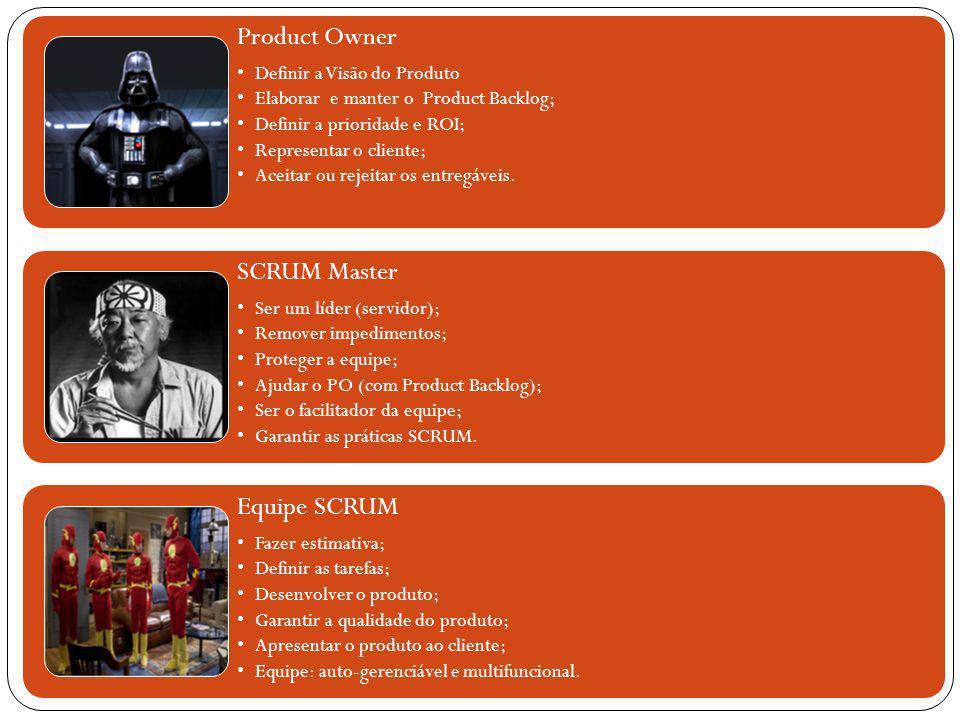 Product Owner Definir a Visão do Produto Elaborar e manter o Product Backlog; Definir a prioridade e ROI; Representar o cliente; Aceitar ou rejeitar o
