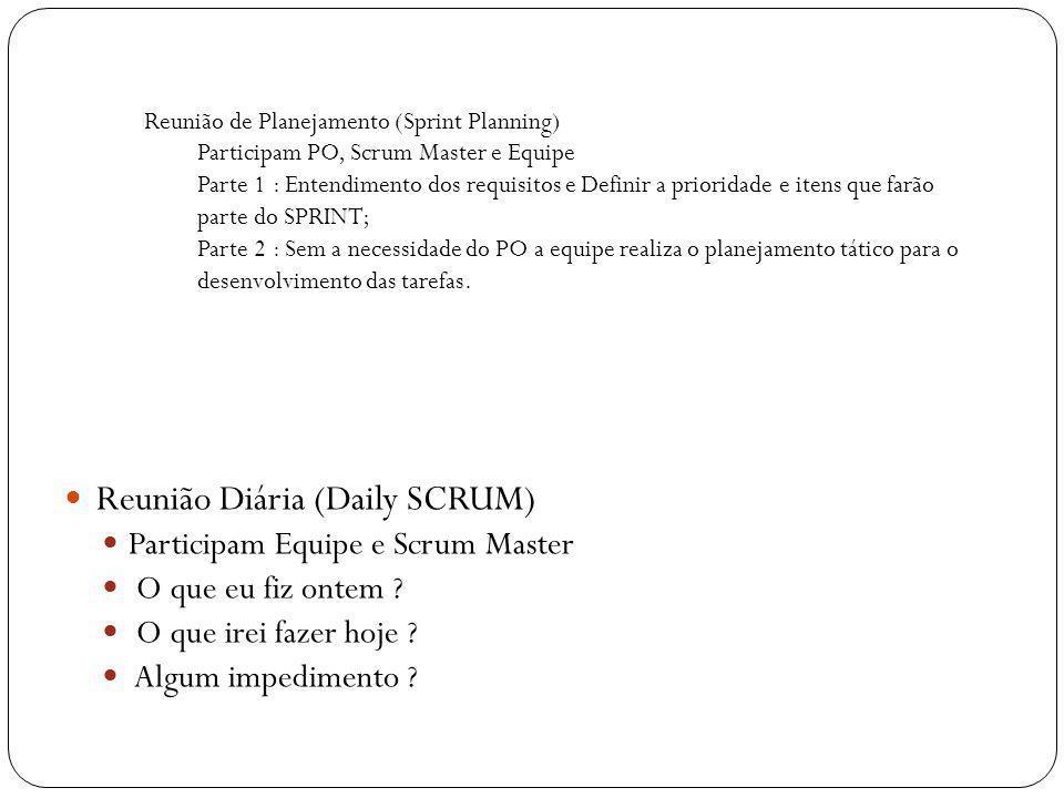Reunião de Planejamento (Sprint Planning) Participam PO, Scrum Master e Equipe Parte 1 : Entendimento dos requisitos e Definir a prioridade e itens qu