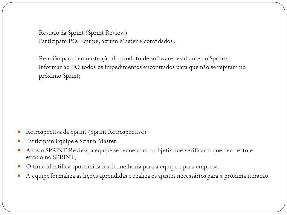 Revisão da Sprint (Sprint Review) Participam PO, Equipe, Scrum Master e convidados ; Reunião para demonstração do produto de software resultante do Sp