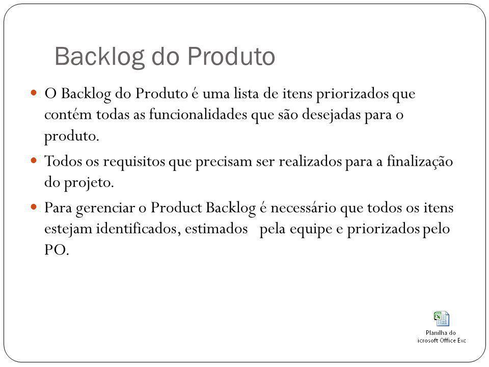 Backlog do Produto O Backlog do Produto é uma lista de itens priorizados que contém todas as funcionalidades que são desejadas para o produto. Todos o