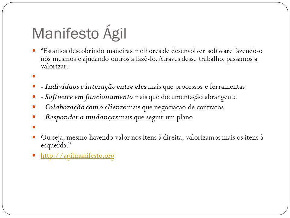 Manifesto Ágil Estamos descobrindo maneiras melhores de desenvolver software fazendo-o nós mesmos e ajudando outros a fazê-lo. Através desse trabalho,