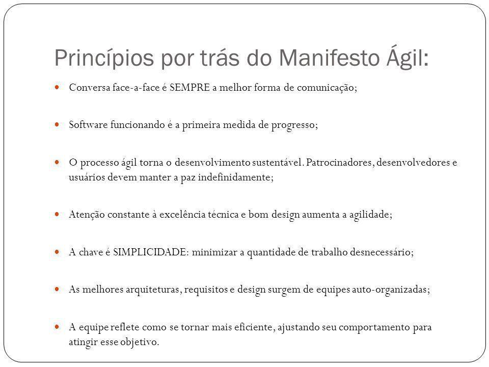 Princípios por trás do Manifesto Ágil: Conversa face-a-face é SEMPRE a melhor forma de comunicação; Software funcionando é a primeira medida de progre