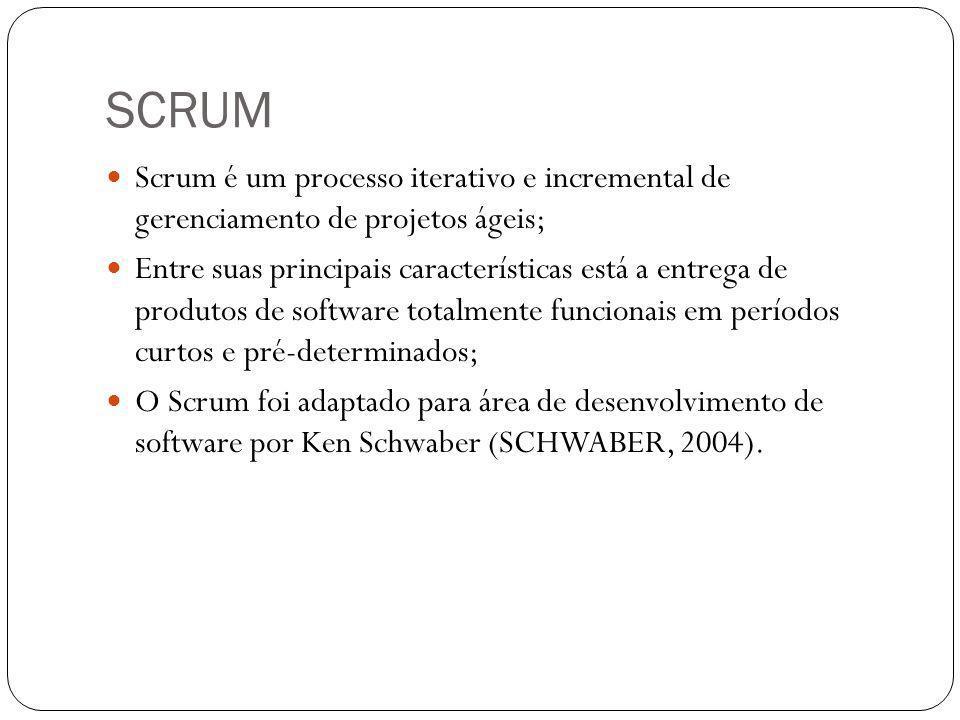 SCRUM Scrum é um processo iterativo e incremental de gerenciamento de projetos ágeis; Entre suas principais características está a entrega de produtos