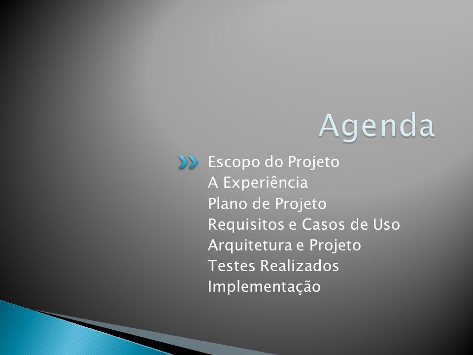 Escopo do Projeto A Experiência Plano de Projeto Requisitos e Casos de Uso Arquitetura e Projeto Testes Realizados Implementação