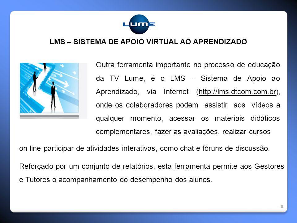 10 LMS – SISTEMA DE APOIO VIRTUAL AO APRENDIZADO Outra ferramenta importante no processo de educação da TV Lume, é o LMS – Sistema de Apoio ao Aprendi