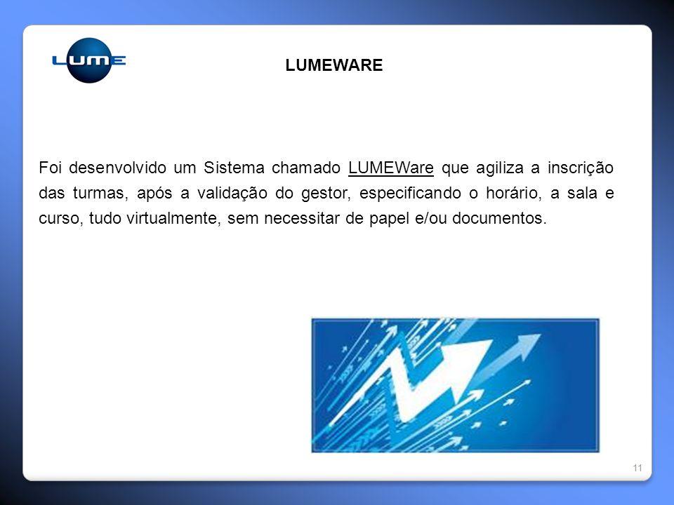 11 LUMEWARE Foi desenvolvido um Sistema chamado LUMEWare que agiliza a inscrição das turmas, após a validação do gestor, especificando o horário, a sala e curso, tudo virtualmente, sem necessitar de papel e/ou documentos.