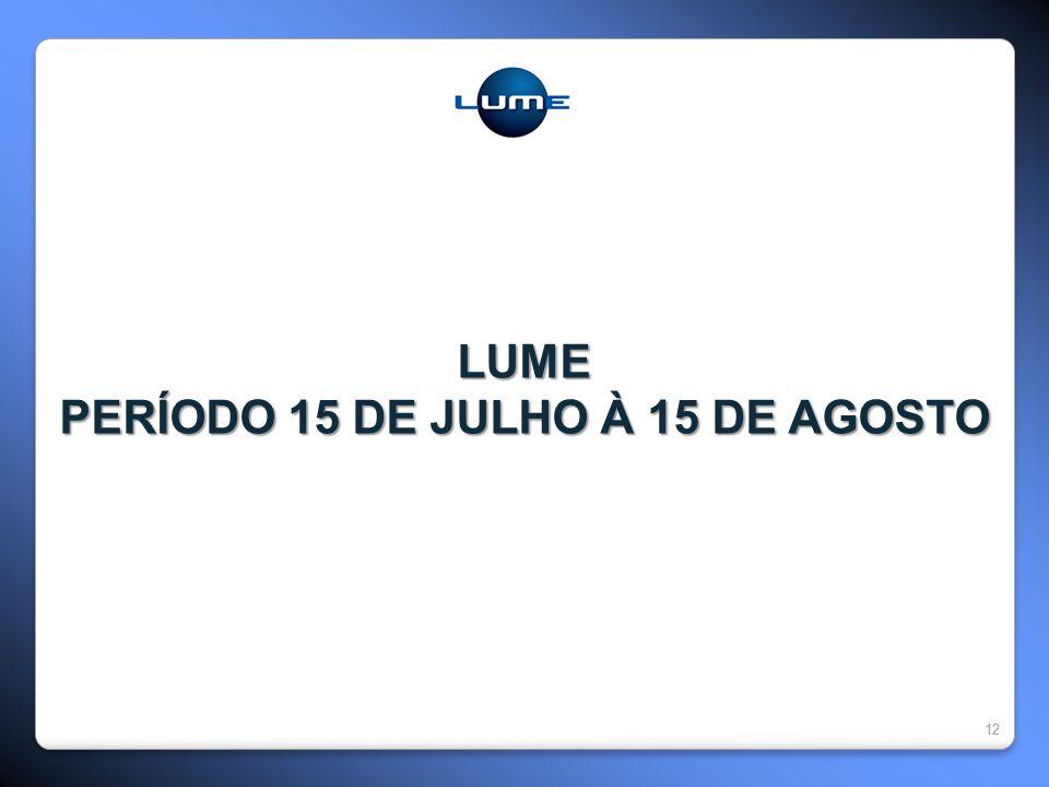 12 LUME PERÍODO 15 DE JULHO À 15 DE AGOSTO