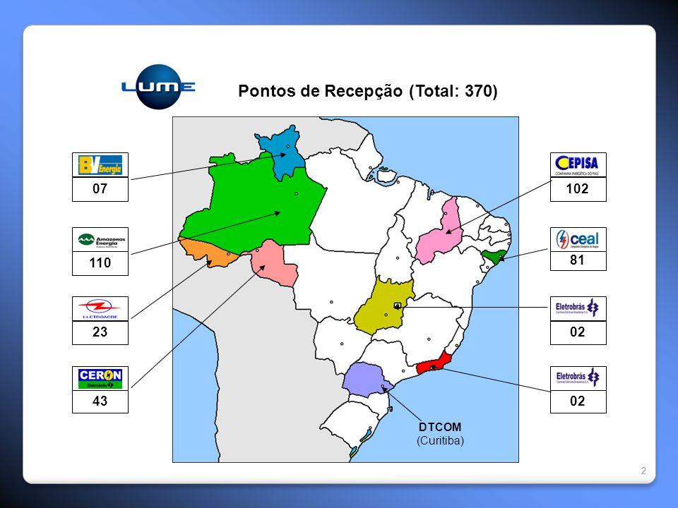22 Pontos de Recepção (Total: 370) 07 110 23 43 102 81 02 DTCOM (Curitiba)