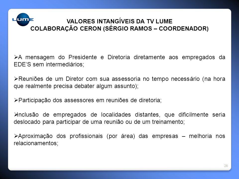 28 VALORES INTANGÍVEIS DA TV LUME COLABORAÇÃO CERON (SÉRGIO RAMOS – COORDENADOR) A mensagem do Presidente e Diretoria diretamente aos empregados da ED