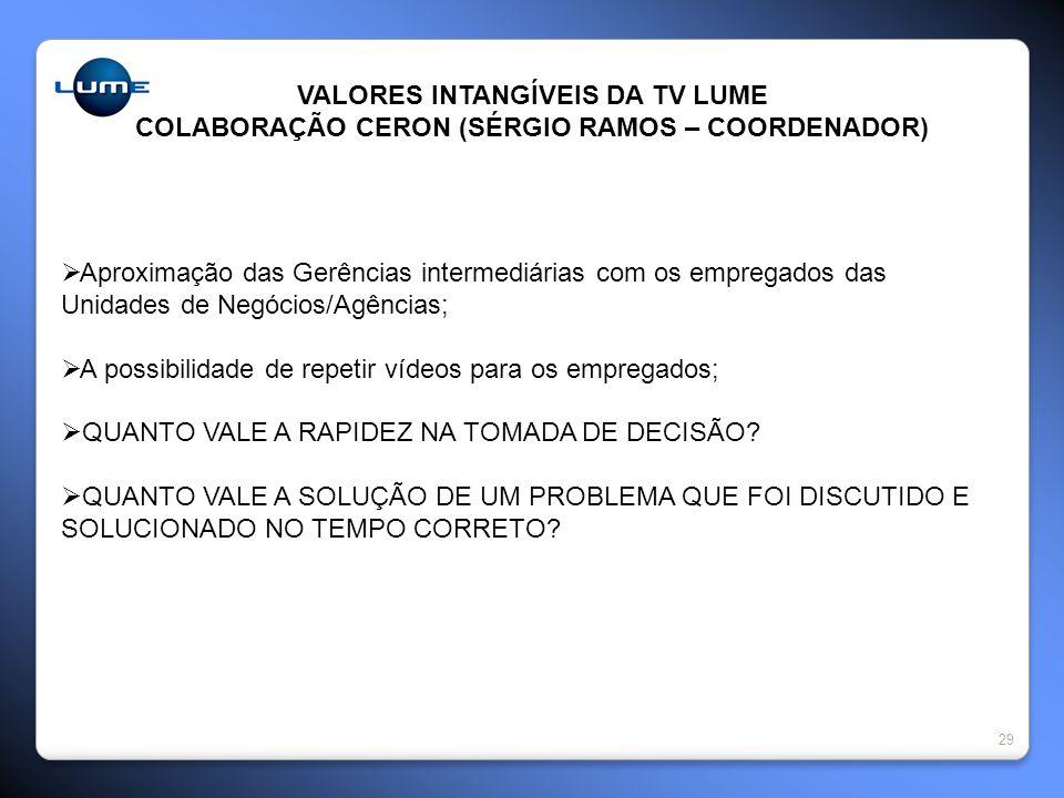 29 VALORES INTANGÍVEIS DA TV LUME COLABORAÇÃO CERON (SÉRGIO RAMOS – COORDENADOR) Aproximação das Gerências intermediárias com os empregados das Unidad