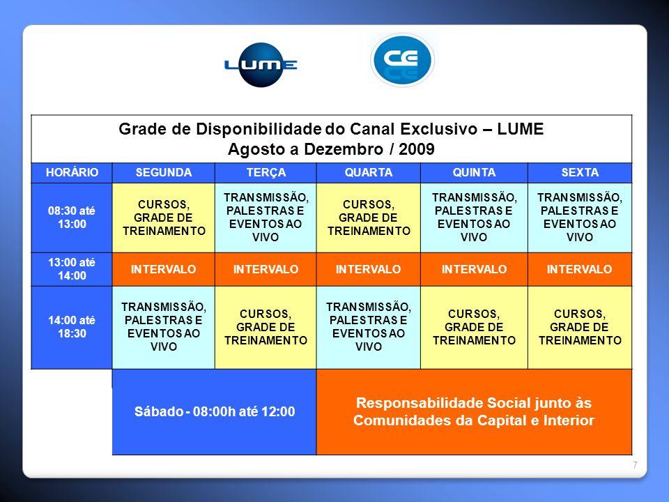 7 Grade de Disponibilidade do Canal Exclusivo – LUME Agosto a Dezembro / 2009 HORÁRIOSEGUNDATERÇAQUARTAQUINTASEXTA 08:30 até 13:00 CURSOS, GRADE DE TR