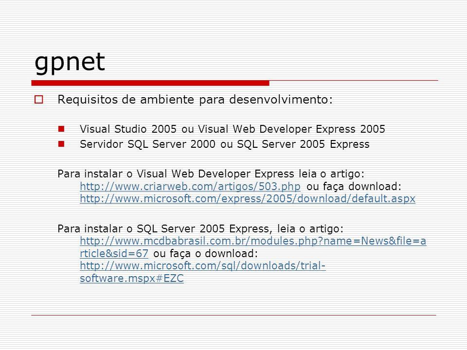 gpnet A pagina do projeto é: http://code.google.com/p/gpnet/ http://code.google.com/p/gpnet/ Os próximos slides descrevem como configurar e utilizar o gpnet framework