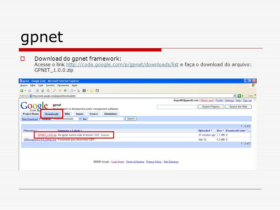 gpnet Altere as informações da Connection String, informando os dados corretos do seu servidor: Data Source=NOME_SRV_SQL\INSTANCIA_SQL; User ID=USUARIO_SQL; Password=SENHA_USUARIO_SQL; Initial Catalog=NOME_DATABASE; Exemplo: Data Source=localhost\SQLExpress;User ID=sa;Password=sql2005;Initial Catalog=GPNET;