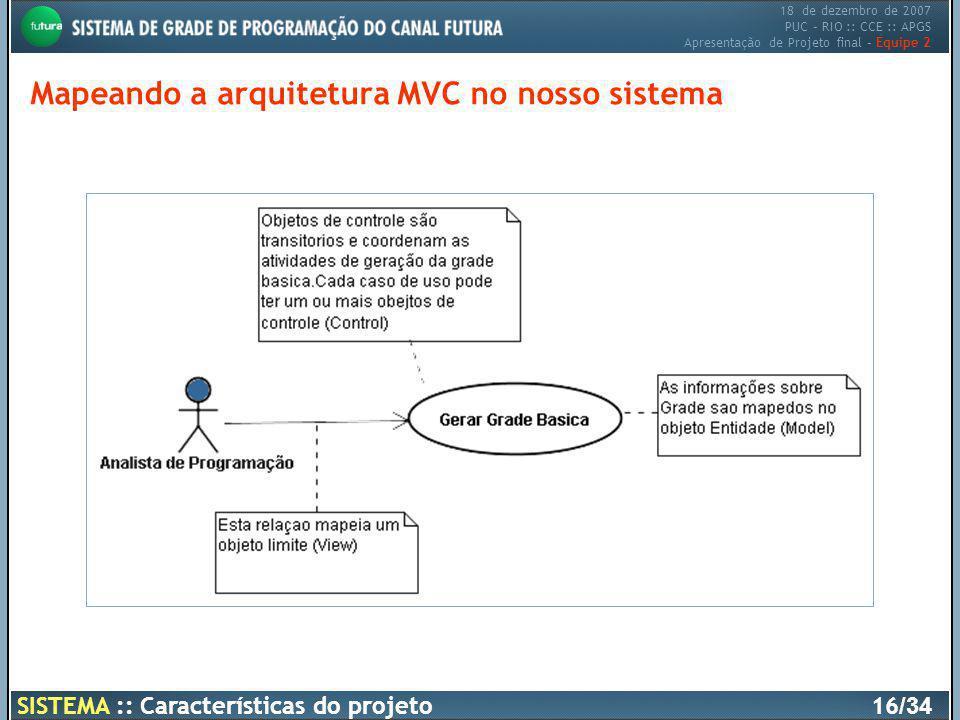 18 de dezembro de 2007 PUC – RIO :: CCE :: APGS Apresentação de Projeto final – Equipe 2 SISTEMA :: Características do projeto16 /34 Mapeando a arquit
