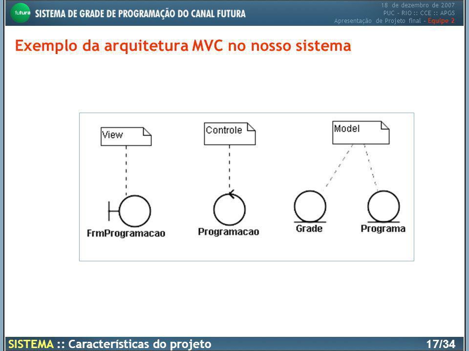 18 de dezembro de 2007 PUC – RIO :: CCE :: APGS Apresentação de Projeto final – Equipe 2 SISTEMA :: Características do projeto17 /34 Exemplo da arquit