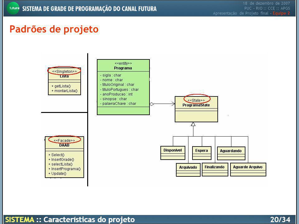 18 de dezembro de 2007 PUC – RIO :: CCE :: APGS Apresentação de Projeto final – Equipe 2 SISTEMA :: Características do projeto20/34 Padrões de projeto