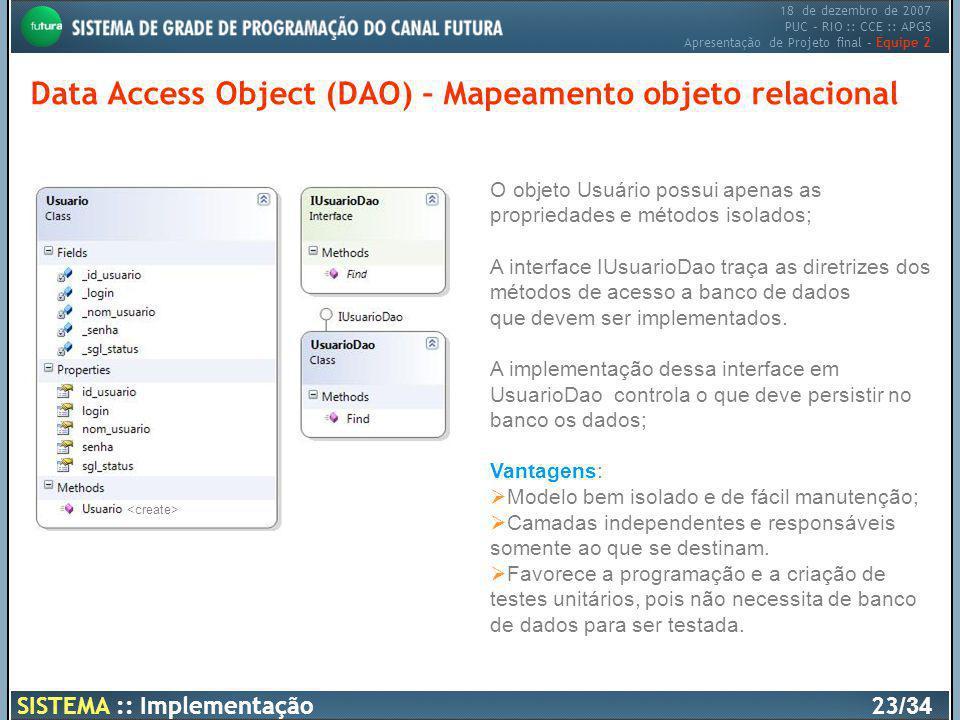 18 de dezembro de 2007 PUC – RIO :: CCE :: APGS Apresentação de Projeto final – Equipe 2 Data Access Object (DAO) – Mapeamento objeto relacional SISTE