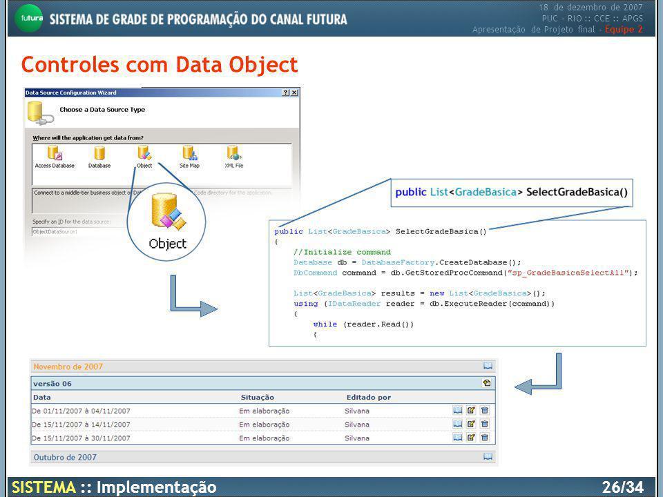 18 de dezembro de 2007 PUC – RIO :: CCE :: APGS Apresentação de Projeto final – Equipe 2 SISTEMA :: Implementação26 /34 Controles com Data Object